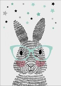 Kinderposter mr. Rabbit Mint & Zwart