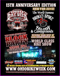 2015 OH Bike Week- May 29 to June 7, 2015  **VIP Tickets Still Available www.ohiobikeweek.com  **VIDEOS http://www.lightningcustoms.com/ohio-bike-week-video.html **Pictures at http://blog.lightningcustoms.com/oh-bike-week-pics/ **OBW Info www.lightningcustoms.com/ohio-bike-week.html  ‪#‎ohbikeweek‬‬‬‬‬‬‬‬‬‬‬