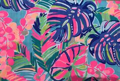 """Lilly Pulitzer Exotic Garden 18""""x18"""" fabric piece. Lilly Pulitzer Fabric, Tropical, Dobby, Exotic, Texture, Handmade, Painting, Wallpaper Backgrounds, Etsy"""