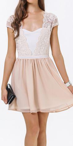 Peach lace party dress