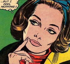 But I Feel Nothing Retro Vintage Pop Up Art Comic Book Girl