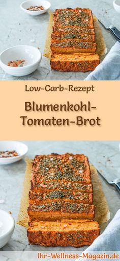 Rezept für Low Carb Blumenkohl-Tomaten-Brot: Kohlenhydratarm, ohne Getreidemehl, gesund und gut verträglich ... #lowcarb #brot #backen