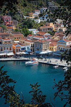 Symi harbour Near Rhodes Greece Beautiful World, Beautiful Places, Greece Pictures, Places In Greece, Greece Islands, Santorini Greece, Greece Travel, Amazing Destinations, Cool Places To Visit