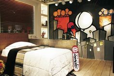 Dormitorios: Fotos de dormitorios Imágenes de habitaciones y recámaras, Diseño y Decoración: DORMITORIO GRAFFITI PARA JOVENCITO