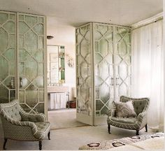 6 Easy Cool Tips: Vintage Room Divider Closet Doors room divider white shelves.Room Divider With Tv Tvs living room divider glass cabinets.Living Room Divider How To Build. Home Decor Inspiration, Room, Interior, Neoclassical Interior, Temporary Room Dividers, Home, House Interior, Rustic Room, Mirror Room Divider