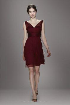 Burgundy Illusion Sleeveless V-neck Knee Length A-line Chiffon Bridesmaid Dress