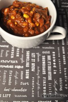 """Slow-Cooker Chili (a. """"Tough Beans"""") This cold weather puts me in the mood for some chili! Slow Cooker Chili, Chana Masala, Cold Weather, Beans, Mood, Cooking, Ethnic Recipes, Kitchen, Cold"""