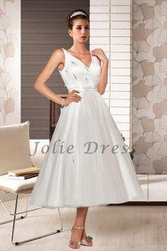 Short Straps V-neck Unique Wedding Dress