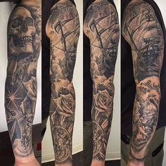 Take a close look at this healed sleeve done by our friend @fernie_andrade out of @skindesigntattoos in Las Vegas. Beautiful work Fernie!