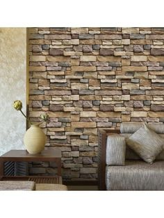 Brick Stones Printed Bedroom Background Wall Art Stikcers