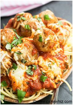 Quick and easy meatball parmesan bake recipe, requiring simple ingredients. This meatball bake is a quick 30 minute weeknight dinner. Best served on pasta.