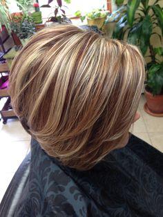Dimensional fall hair color. Aveda fall color. The good earth salon, iron mountain, Michigan. Copper, chocolate, blonde