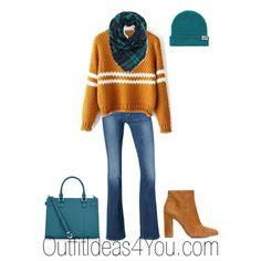 Pumpkin Orange Sweater With Teal Plaid Scarf