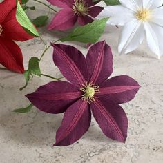 Crepe Paper Clematis Single Stem Wedding Flowers by NectarHollow