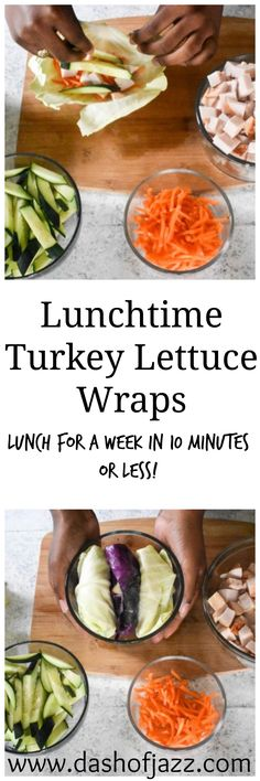 Easy lettuce wraps with fully cooked turkey breast. Meal prep paleo, gluten-green lunches for the week in 10 minutes or less! | Dash of Jazz