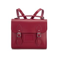 The Cambridge Satchel Company Women's Barrel Backpack - Rhubarb Red ($185) ❤ liked on Polyvore featuring bags, backpacks, leather backpack, red leather bag, genuine leather backpack, backpack bags and real leather backpack