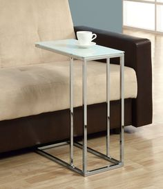NEW Living Room Coffee End Table, Slide Under Couch Side Metal Glass Top, Chrome