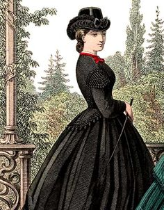 Ladies' riding habits were adapted in shape to the figure of the lady and usually made a foot longer than an ordinary skirt and in a light cloth and in a dark color. Description from victoriana.com. I searched for this on bing.com/images