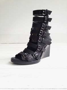 Ann Demeulemeester black buckle up wedges - runway 2010 | V A N II T A S