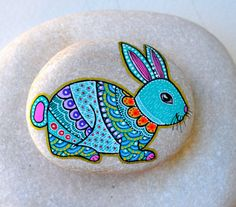 Hand Painted Stone Bunny