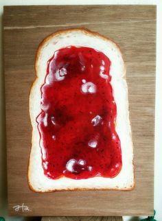 jam toast by Yukimichi Hamaura acrilic on woodbord/A4