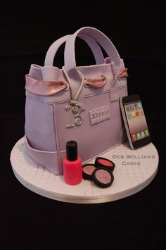 I made this for a teenager, she loves her iphone so I made one with all her favourite apps on it along with a nail varnish and eye shadows for extra girly effect. My handbag design was influenced by a fantastic handbag cake by Verusca Walker. Shoe Box Cake, Shoe Cakes, Cupcake Cakes, Cupcakes, Fondant Cakes, Pretty Cakes, Beautiful Cakes, Amazing Cakes, Make Up Cake