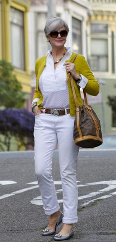 Charming Mustard Cardigan over White