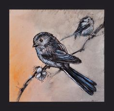 Long tailed tits - traditional painting