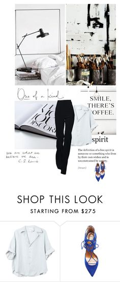 """""""at work"""" by midnightcigarette ❤ liked on Polyvore featuring Aquazzura"""