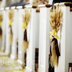 Reserve communicants' pews with wheat & white ribbon, with or without white flower