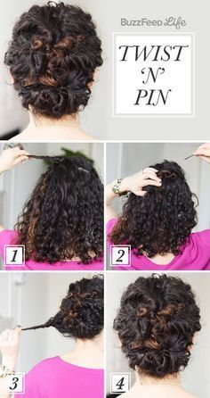 19 Naturally Curly Hairstyles For When You're Already Running Late Pin your hair back into a deceptively easy updo. Curly Hair Styles, Medium Hair Styles, Natural Hair Styles, Medium Curly, No Heat Hairstyles, Diy Hairstyles, Wedding Hairstyles, Black Hairstyles, Hairstyle Ideas