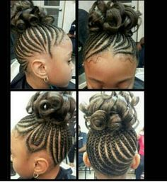 Cute Corn Rows for Girls | Cute black girls Cornrow updo with curls. Can't ... | cornrows for gi ...