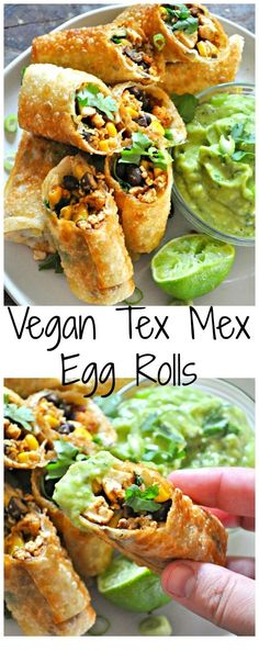 Healthy Recipes Vegan Tex Mex Egg Rolls - Rabbit and Wolves - Vegan egg rolls filled with taco tofu, black beans, corn and cilantro. With an avocado buttermilk ranch dip! Tasty Vegetarian Recipes, Vegan Dinner Recipes, Veggie Recipes, Whole Food Recipes, Cooking Recipes, Vegan Appetizers, Delicious Appetizers, Vegan Vegetarian, Diet Recipes
