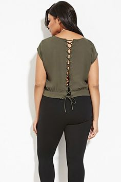 Plus Size Lace-Up Back Top | Forever 21 PLUS - 2000163997