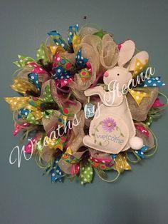 Easter wreath,bunny wreath,deco mesh Easter wreath,  #90  Wreaths by Ileana