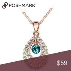 """18K Rose  Gold Plated Necklace With Swarovski 15.5""""+2"""" Ext, Pendant Length 1.26 inches, Pendant Width 0.67 inch. The pendant necklace adorned with Swarovski elements crystals. They are beautiful and have a lot of sparkle. The jewelry necklace have special design, durable,real gold plated and it does not irritate neck. This fashion women's pendant necklace is perfect for daily wear, also a great gift idea. Product comes with a exquisite gift box. Made with Swarovski crystals:crystals supplied…"""