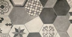Cemento Hex Porcelain Tile Patchwork Blk MixPlease note this range features random mix of patterns per box. Some patterns may be repeated more than once in a box. Terrazzo Tile, Tile Floor, Concrete Tiles, Patchwork Tiles, Tile Suppliers, Hexagon Tiles, Blog Design, Porcelain Tile, Tile Design