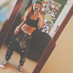 wolftyla in galaxy joggers