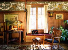 Okay, so maybe I won't sell my furniture!  I need it so it will match this gorgeous wallpaper!      Arts & Crafts Wallpaper, Craftsman Style Wallpaper | Bradbury & Bradbury
