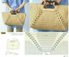 Straw Bag, Crochet Purses, Tote Bags, Knitting And Crocheting Crochet Shell Stitch, Crochet Tote, Crochet Socks, Crochet Handbags, Crochet Purses, Diy Crochet, Crochet Stitches, Crochet Patterns, Diy Sac