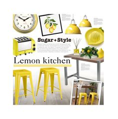 """Lemon Kitchen"" by ellergy ❤ liked on Polyvore featuring interior, interiors, interior design, home, home decor, interior decorating, Sur La Table, Dualit, Moe's and I Love Living"
