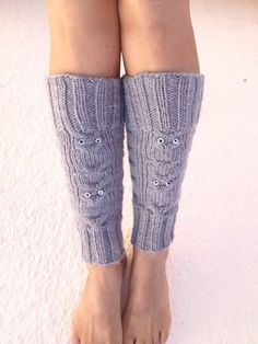 Grey OWL figure Knitted Leg Warmers, Boot Cuffs Liners,boot cuffs,ballet flats,yoga,pilates. $25.00, via Etsy.