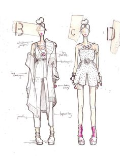 Fashion Sketchbook - fashion design drawings; creative process; fashion portfolio // Fade to Black