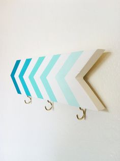 Wall hook - chevrons - turquoise blue mint ombre - via Etsy.