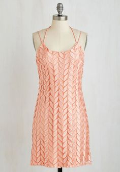 Leafy Keen Dress - Mid-length, Woven, Pink, Solid, Cutout, Embroidery, Prom, Party, Homecoming, Sheath, Sleeveless, Better