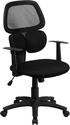 Flash Furniture BT-2755-BK-GG Mid-Back Black Mesh Chair with Flexible Dual Lumbar Support
