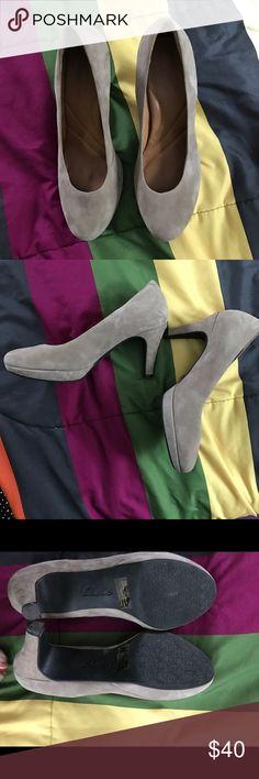 Clarks grey suede heels Supper comfy CLARKS grey/silver suede heels. Worn twice in an office environment. Great shape, like new. Soles are like memory foam! 9 1/2! Clarks Shoes Heels