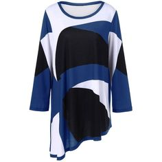 Plus Size Abstract Print Asymmetrical T Shirt (30 BAM) ❤ liked on Polyvore featuring tops, t-shirts, blue t shirt, plus size t shirts, blue tee, abstract tees and plus size womens tees