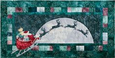 Reindeer lead Santa's sleigh around the world and across the moon. Applique Quilt Patterns, Applique Ideas, Magic In The Moonlight, Christmas Sewing, Christmas Patterns, Raw Edge Applique, Santa Sleigh, Blue And Silver, All The Colors