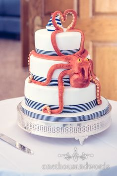 Amazing octopus wedding cake for nautical themed wedding. Photography by one thousand words wedding photographers